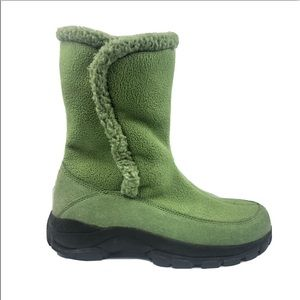 Lands End Green Winter Boots w/ Suede & Fabric 8M